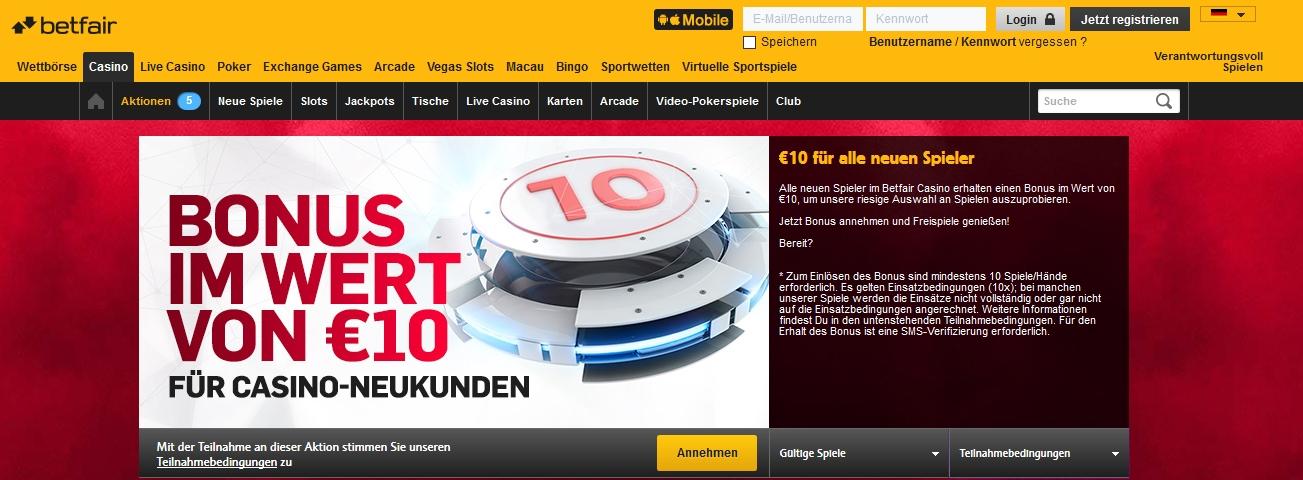 Betfair 10 Euro Bonus