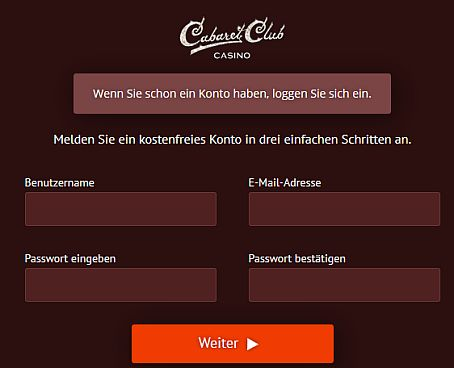 Cabaret Club Registrierung
