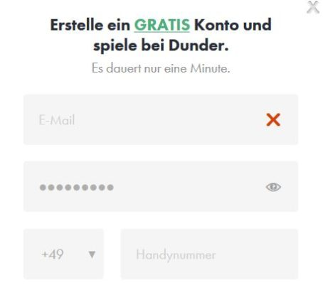 Dunder Registrierung width=