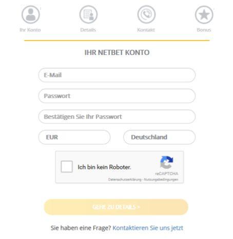 NetBet Registrierung