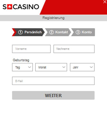 Swiss Casino Registrierung