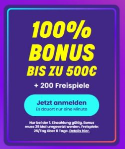 Wildz Casino Bonus 100% bis 500€