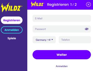 Wildz Casino registrieren