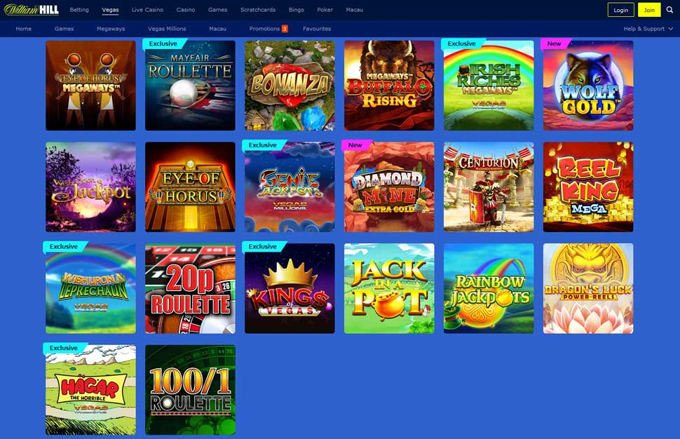 William Hill Vegas Spiele